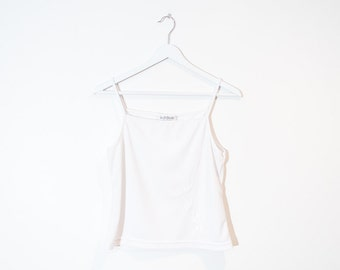 on sale - 90s white stretchy tank top / embroidered spaghetti strap top / size M