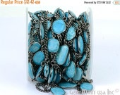 Mothers Day 35% OFF One Foot Beautiful Turquoise, Black Plated Bezel connectors Chain, Stone size 10-15mm (appx) (BPTQ-20002)