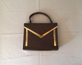 golden M handbag   retro purse