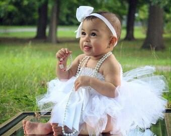Baby girl white tutu dress. Ballerinia dress,  sizes 0 to 12 months, flower girl, baptism dress, lst birthday