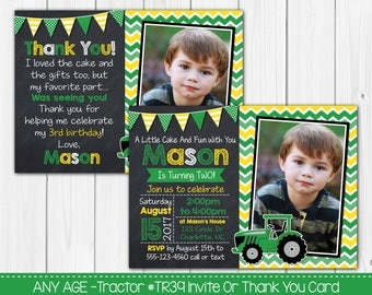 Tractor Birthday Invitation Any Age Chalkboard Photo Birthday Invitation OR Thank you card Digital File