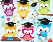 80% OFF SALE Graduation owls clipart commercial use, graduation birds vector graphics, digital clip art, digital images - CL848