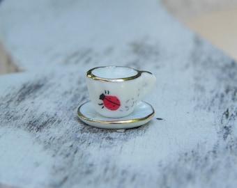 Fairy Garden Tea Cup & Saucer Ladybug fairy accessories for fairy tea party miniature garden party fairy garden accessory