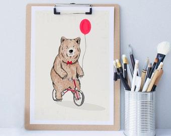 Bear on a bike print