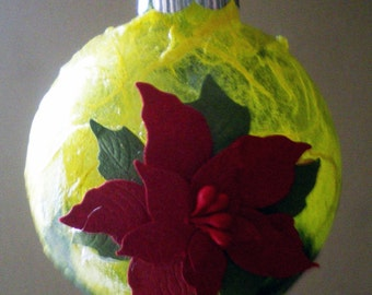 Hand made paper on glass ornament, Holiday Decor, Christmas Tree Decoration, Unique Gift Idea, Secret Santa Gift, Hand Made, Teacher Gift