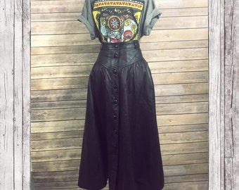 Long Black Leather Skirt Button Up