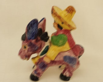 Hand Painted Donkey and Rider