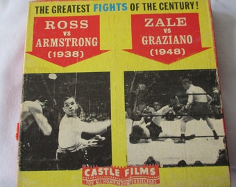 1938/1948 8 mm Castle Films of the Greatest fights of the Century Estate- Ross-Armstrong -- Zale- Graziano - Estate find !