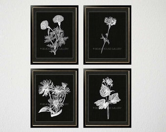 Minimalist White Wall Art, Black Botanical Prints, Set of 4, Black and White Living Room Art, Black Floral Prints, Flower Silhouettes
