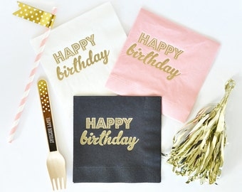 Happy Birthday Napkins (set of 25) //Birthday Napkins//Gold Foil Napkins// PInk Party Napkins //Birthday Party Decorations // Birthday Decor