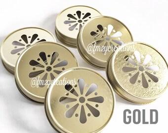 Daisy Cut Mason Jar Lids--(6) GOLD Daisy Cut Mason Jar Lids, Metal Jar Lids, Mason Jar Lids, Daisy Lids