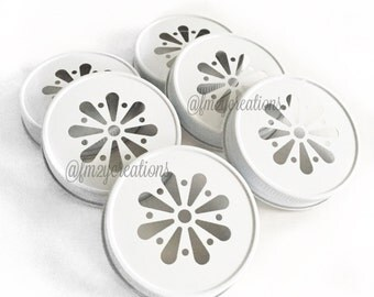 White Color Daisy Lids--(6) Daisy Cut White Mason Jar Lids, Metal Jar Lids, Mason Jar Lids, Wedding Daisy Lids