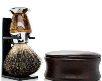 Shaving Kit - Shaving Set - black badger shaving brush - mens christmas gifts - wood shaving bowl - mens gifts - gifts for dad - gifts