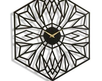 Desert Bloom Clock, Large Wall Clock. Laser Cut, Modern, Minimal, Geometric