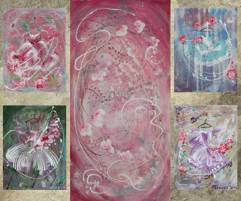 Rose shabby chic peinture xxl peinture rose floral original for Peinture shabby chic