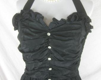 Vtg 50s 60s Black Womens Vintage Full Skirt Halter Party Dress W 28