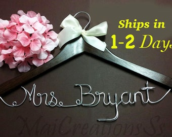 WEEKEND SALE. Personalized Bridal Wedding Hanger. Bridal Hanger. Bridal Party. Custom Hanger. Comes With Bow