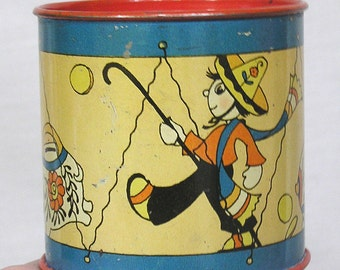 Ohio Art Tin Bank Illustrations by Fern Bisel Peat Mexican Boy Colorful Piggy Banks Imagery