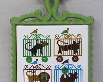 Vintage CI Trivet with Zoo Animals on Ceramic Tile Made in Japan