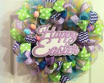 Easter Wreath/ Happy Easter Wreath/ Easter Egg Wreath/ Spring Deco Mesh Wreath/ Easter Door Decor
