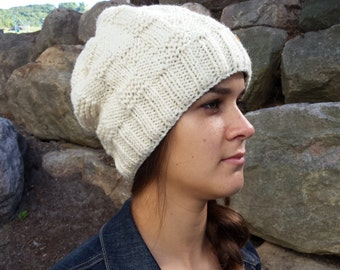 Knit Slouchy Hat Beanie Toque, off white Canadian wool, fall winter accessories