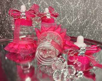 Baby Bear Baby Shower Plastic Bottle Favor Decoration Fuchsia 12 Ct