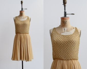 First Friday Dress / 1960s silk chiffon dress / vintage beaded sequin dress