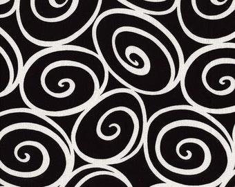 Handmade Curtain/Window Valance, 44W x 15L, in Black/White Swirly Circles, Home Decor, Chic