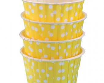 Yellow Polka Dot Candy Cups-Yellow Candy/Nut Cups are perfect for filling with candy, nuts or other snacks.