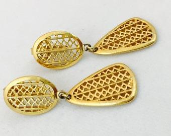 Crown Trifari Earrings, dangle earrings, Crown Trifari Clip on Earrings, Diamond Geometric Pattern Earrings