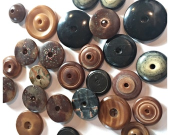 Antique Whistle Button Lot, Goodyear 1851 Hard Rubber Whistle Button, Vegetable Ivory Whistle Button Lot, Button Item 48