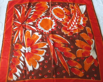 VERA Scarf Red Orange Abstract Floral JAPAN - 26 x 26