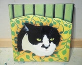 8 x 8 Tuxedo Cat on Bed Oil Painting by Rosemary Daunis Art