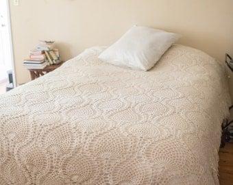 AFGHAN throw Handmade Large Vintage AFGHAN CROCHET bedding
