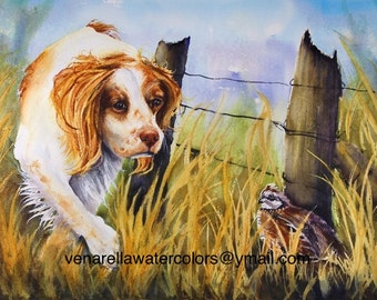Hunting Dog Painting Brittany Spaniel Giclee Print on watercolor paper mounted on white mat ready to slip into a standard frame