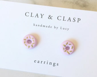 Gold Speckle Doughnut Earrings - beautiful handmade polymer clay jewellery by Clay & Clasp