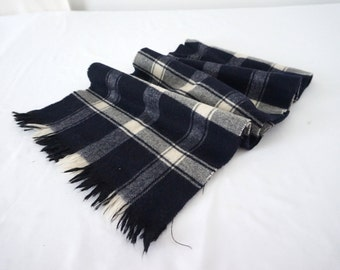 Vintage Black and White Plaid Wool Scarf