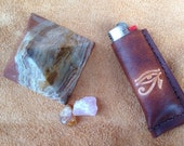 eye of horus handmade leather bic lighter case