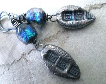 SOIERO Urban Primitive / Modern Tribal / Rustic / Boho Chic Silver Dangle Earrings
