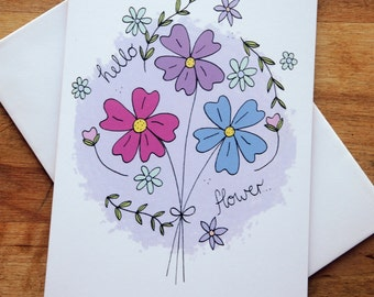 hello flower / illustrated note card