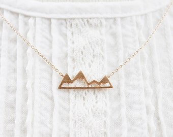 Mountain Top Necklace . Rose Gold Mountain Pendant  Necklace . Bridesmaid Gift Bridesmaid Necklace .