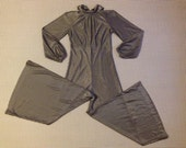 1970's, fold over collar, wide leg, jumpsuit, in metallic silver, Women's size Small
