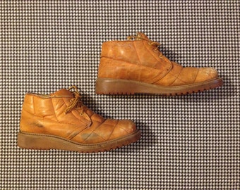 1970's, quilted, leather, chukka boots, in saddle tan, Men's size 7.5 D