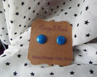 Blue glitter resin earrings