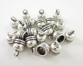 20pcs 5mm-Opening Bell End Caps Silver Plated (F1930)