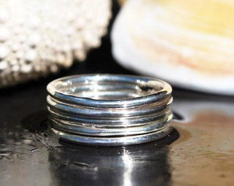 Silver Stacking Ring - Silver Stackable Ring - Durable Silver Band - Dainty Silver Ring - Boho Ring - Round Silver Stack Ring