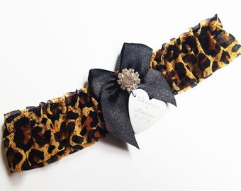Personalised Leopard Print Wedding Garter with Rhinestone and heart