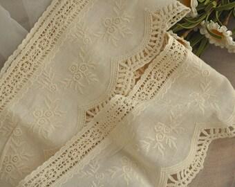cotton lace trim, scalloped trim lace, crochet lace trim, 2 yards