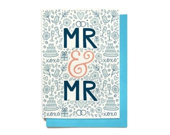 Gay Wedding Card - Mr & Mr - Wedding Congratulations - Wedding Shower Card - Engagement Card - LGBT wedding card - same sex marriage card