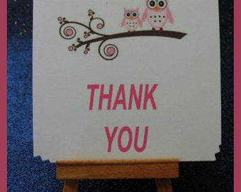 owl pink note cards, Owl pink Thank You notes, Owl pink invitations package of 10